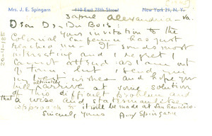 Postcard from Amy Spingarn to W. E. B. Du Bois