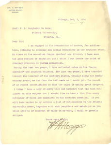 Letter from William H. Skaggs to W. E. B. Du Bois