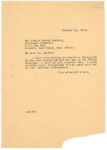 Letter from W. E. B. Du Bois to Archie Casely Hayford