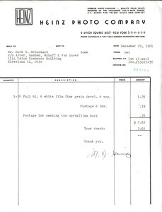 Invoice from Heinz Photo Company