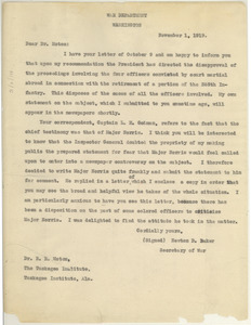 Letter from United States War Department to Robert R. Moton