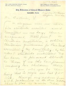 Letter from Addie Streator Wright to W. E. B. Du Bois