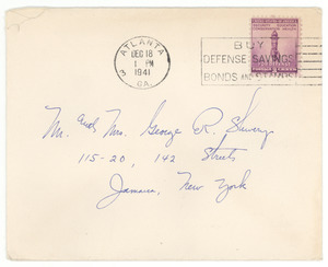 Christmas card from the Du Bois family to Mr. and Mrs. George Shivery