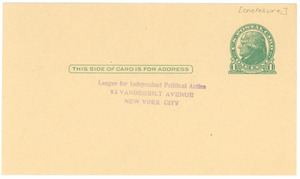 Self-addressed stamped postcard from the League for Independent Political Action to W. E. B. Du Bois