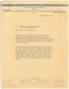 Circular letter from American Association for the United Nations to W. E. B. Du Bois