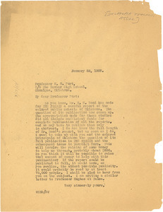 Letter from W. E. B. Du Bois to the Oklahoma Association of Principals in Negro Schools