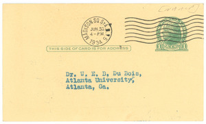 Postcard from Walter White to W. E. B. Du Bois