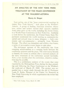 An Analysis of the New York Press treatment of the Peace Conference at the Waldorf-Astoria