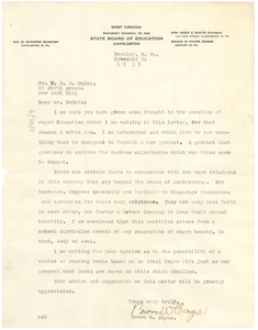 Letter from Brown W. Payne to W. E. B. Du Bois
