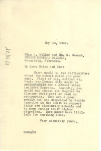 Letter from W. E. B. Du Bois to Aage Moller and H. Baasch