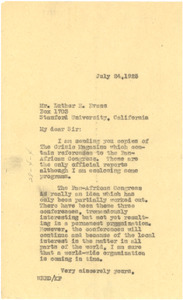Letter from W. E. B. Du Bois to Luther H. Evans
