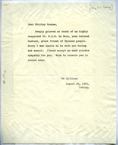 Letter from Ho Li-liang to Shirley Graham