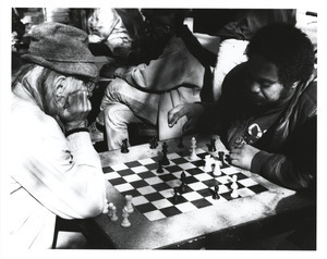 Chess players in park