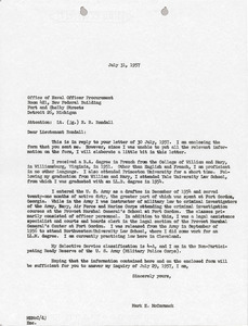 Letter from Mark H. McCormack to Office of Naval Officer Procurement