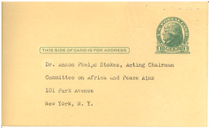 Committee on Africa and Peace Aims Executive reply card