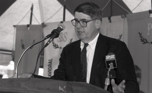 Ceremonial groundbreaking for the Conte Center: unidentified speaker at the podium