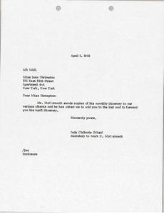 Letter from Judy A. Chilcote to Jean Shrimpton