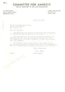 Letter from Committee for Amnesty to W. E. B. Du Bois