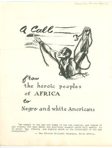 A Call from the heroic peoples of Africa to Negro and white Americans