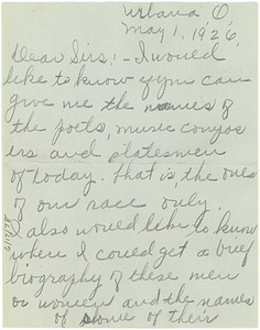 Letter from Veda Brown to W. E. B. Du Bois