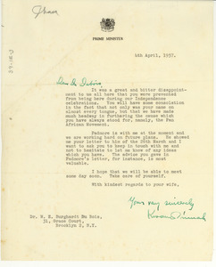 Letter from Kwame Nkrumah to W. E. B. Du Bois