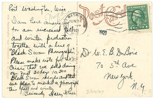 Postcard from Harry H. Pace to W. E. B. Du Bois