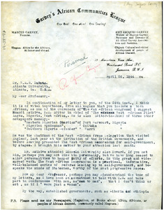 Letter from Amy Jacques Garvey to W. E. B. Du Bois