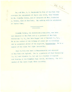 Circular letter from W. E. B. and Nina Du Bois to unidentified correspondent