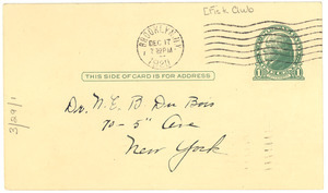 Postcard to the members of the Fisk Club of Greater New York