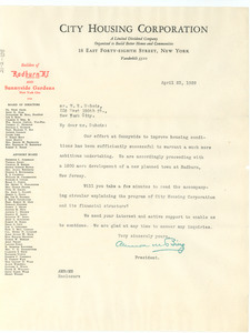 Letter from City Housing Corporation to W. E. B. Du Bois