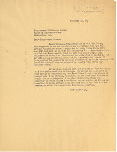 Letter from W. E. B. Du Bois to United States House of Representatives