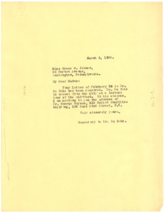Letter from unidentified correspondent to Grace W. Joiner