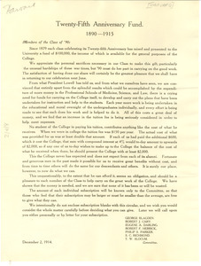 Circular letter from Harvard College to W. E. B. Du Bois