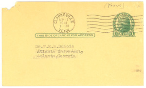 Postcard from Francis Young to W. E. B. Du Bois