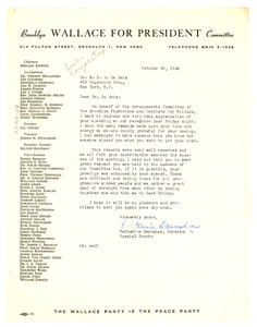 Letter from Brooklyn Wallace for President Committee to W. E. B. Du Bois