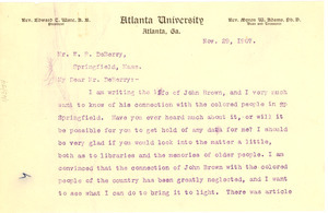 Letter from W. E. B. Du Bois to William N. DeBerry