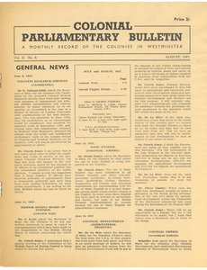 Colonial parliamentary bulletin