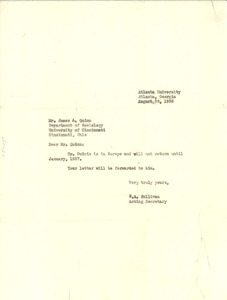 Letter from S. A. Sullivan to James A. Quinn
