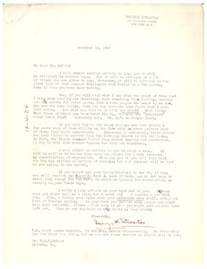 Letter from George Streator to W. E. B. Du Bois