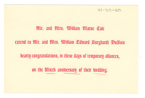 Anniversary card from Mr. & Mrs. William Morse Cole to W. E. B. and Nina Du Bois