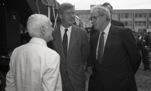 Ceremonial groundbreaking for the Conte Center: Richard Stein chatting with Gov. William Weld and Provost Richard O'Brien (l. to r.)