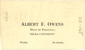 Albert F. Owens visiting card