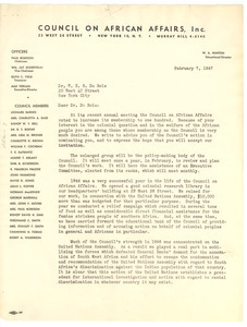 Letter from Council on African Affairs to W. E. B. Du Bois