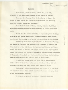 Greeting from Paul Robeson and W. E. B. Du Bois to the people of Africa