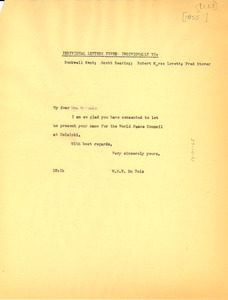 Circular letter from W. E. B. Du Bois to Rockwell Kent