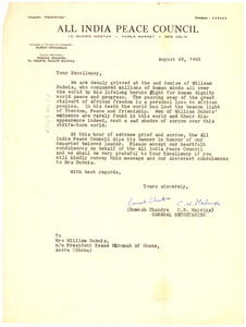 Letter from All India Peace Council to Kwame Nkrumah