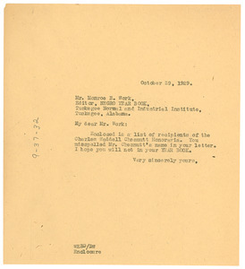 Letter from W. E. B. Du Bois to Tuskegee Institute