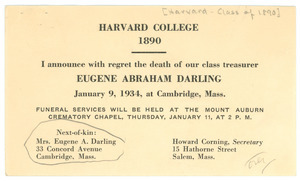 Announcement of the death of Eugene Abraham Darling