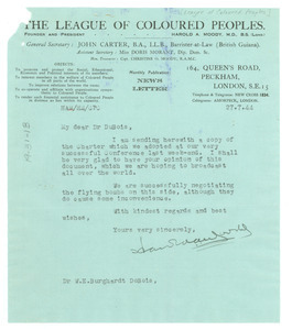 Letter from League of Coloured Peoples to W. E. B. Du Bois