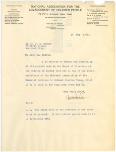 Letter from Walter F. White to W. E. B. Du Bois